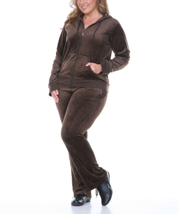 Brown Zip-Up Hoodie & Lounge Pants - Plus