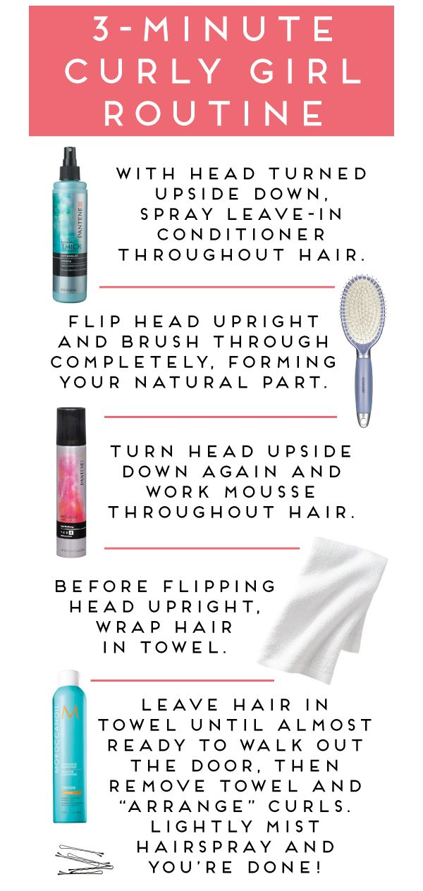three-minute curly hair routine. I'd have to start at step 3. There is no way my hair would hold curl after brushing through it. Finger comb, people, finger comb.