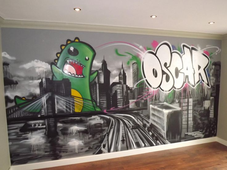 Children / Teen / Kids Bedroom Graffiti Mural   Hand Painted Graffiti  Skyline And Dino Feature Wall Design Part 80