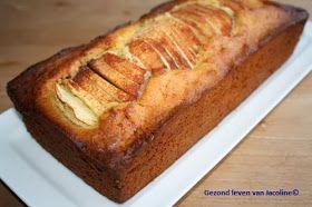 Cake van speltmeel met appel en kaneel. Ik heb alleen de helft roomboter en helft griekse yoghurt gebruikt en ipv 150gr honing, 75 gr speltstroop en 75 gr palmsuiker.