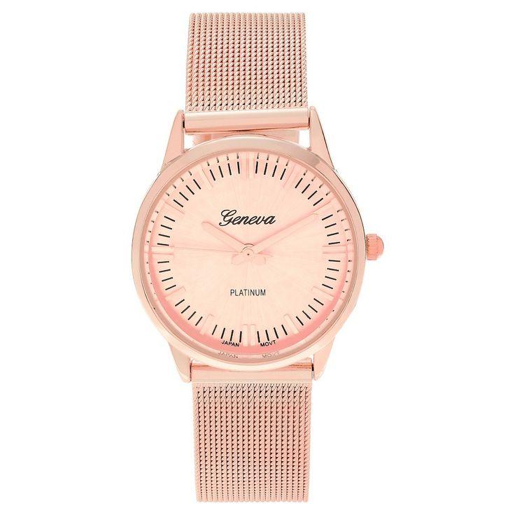 Women's Geneva Platinum Mesh Band Strap Watch - Rose Gold