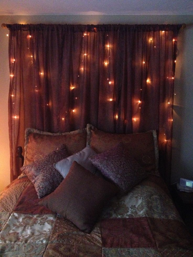 Homemade headboard with twinkle lights headboard for Makeshift headboard