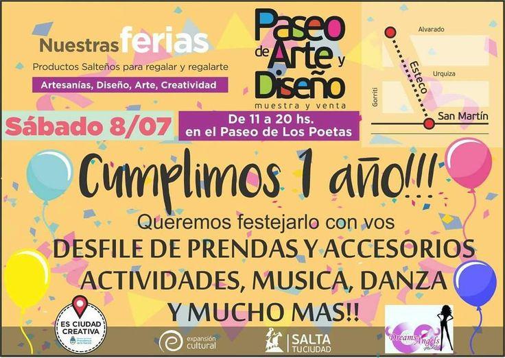 Sab 8/Jul - 11 a 20 hs #PaseoDeLosPoetas #Salta  #Agenda #Evento #Prensa #Noticia #Medios #Musica #Entretenimiento #Arte #Cultura #Turismo #GobiernoDeSalta #SaltaTuCiudad #SaltaTanLindaQueEnamora #TanLindaQueEnamora #GobiernoDeLaProvinciaDeSalta #Argentina #PasaLaData #QueHacemosSalta #QHSalta #QHS #Feria #Artesanias #Creatividad #Diseño #Danza #Desfile Toda la info que necesitas la podes encontrar aquí  http://quehacemossalta.com/