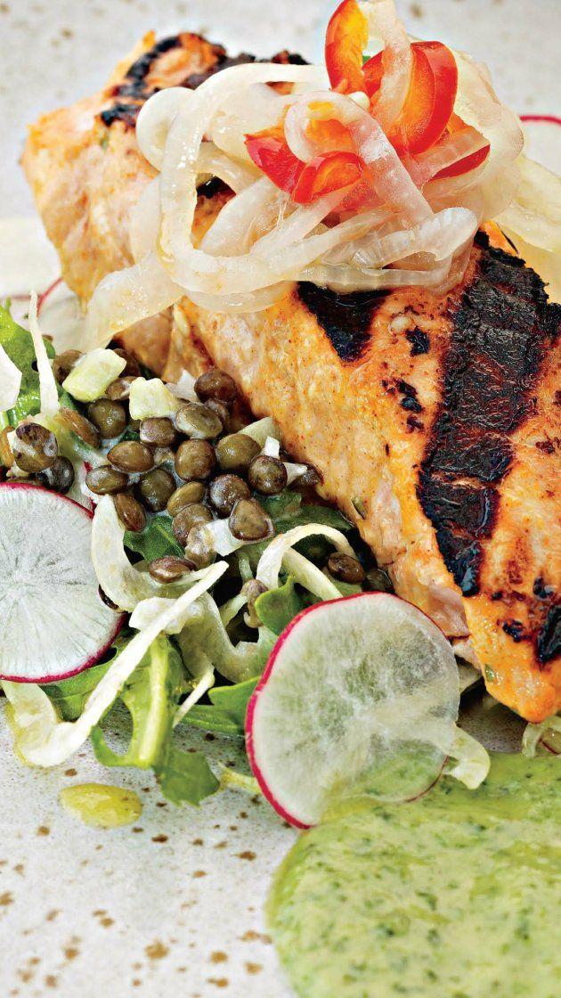 Tandoori Salmon Salad with Pickled Cippolini Onions, Cucumber Raita and Marinated Lentils via @AOL_Lifestyle Read more: https://www.aol.com/food/recipes/tandoori-salmon-salad-pickled-cippolini-onions-cucumber-raita-and-marinated-lentils