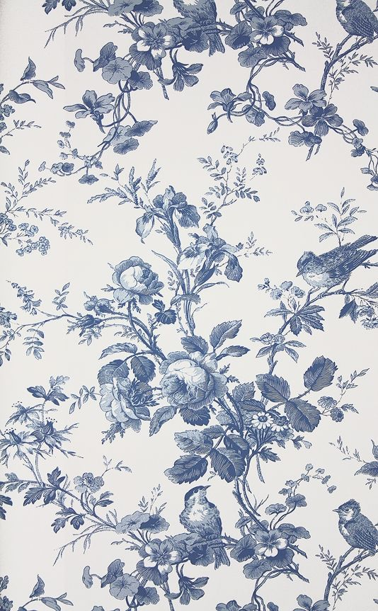 Isabelle Floral Toile Wallpaper A floral toile wallpaper featuring birds perched in flowing rose branches. In blue on white.