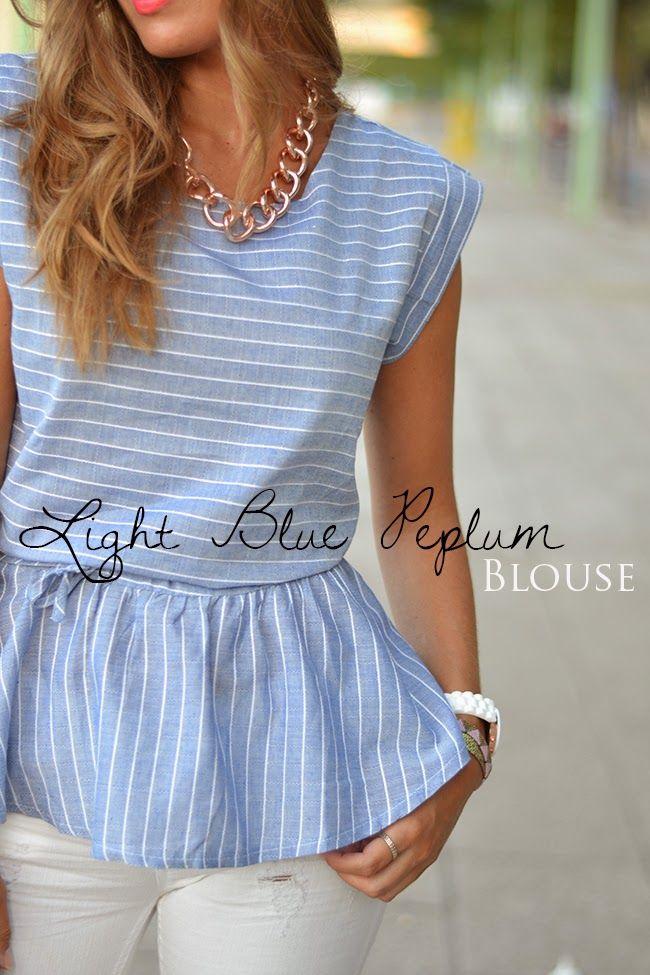 Mi aventura con la moda: LIGHT BLUE PEPLUM BLOUSE