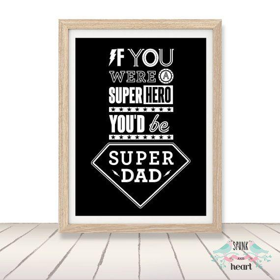 Dad Father Grandfather Pop Superhero Print Wall by spunkandheart, $20.00 #dad #father #fathersday #grandfather #pop #wallart #spunkandheart #customart #superhero