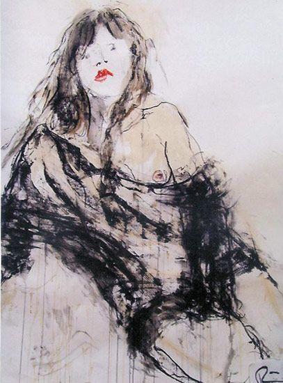 Rini Ferhi - fusain sur toile maroufle