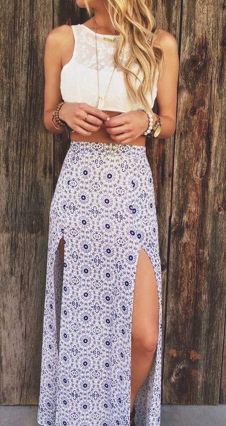 #street #style summer geo print maxi skirt @wachabuy