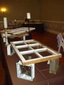 Use old windows to display food at your event for an elegant yet rustic appeal!