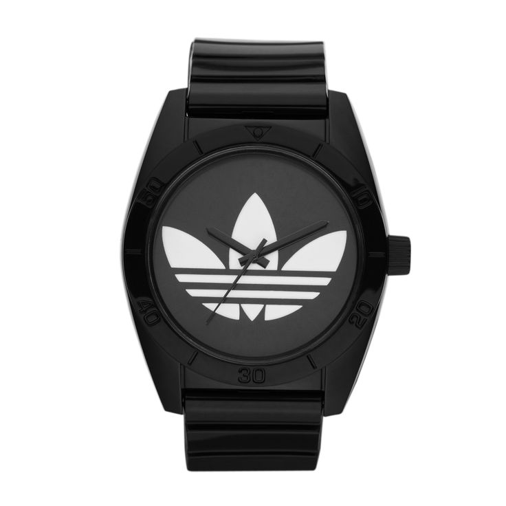 This sporty timepiece features a black strap, a black resin bezel, and a matte black dial with an oversized white logo. The uniquely shaped face is stunning, and black-on-black is always one of our go-to color combos for an instantly chic look.  R899.00  http://www.watchrepublic.co.za/brand/adidas/men/adidas-santiago-watch