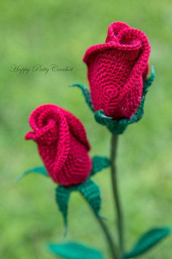 Crochet Rose Pattern Closed Rose Crochet by HappyPattyCrochet