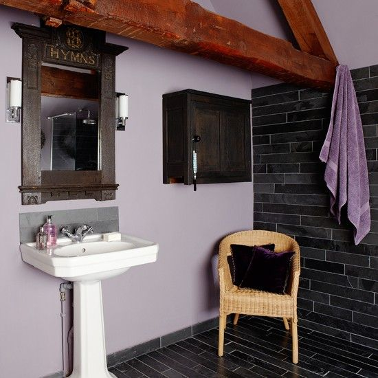 Purple and slate country bathroom | Country decorating ideas | Beautiful Kitchens | Housetohome.co.uk