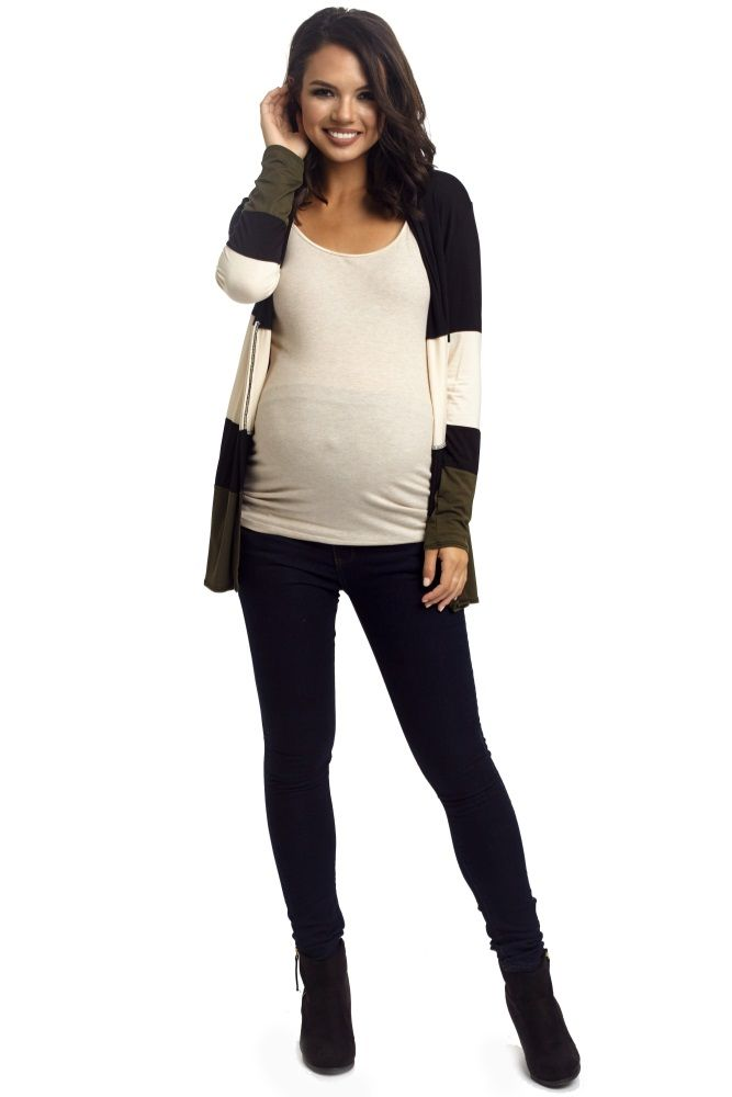 Rock this season's hottest trends with this colorblock maternity cardigan. Its updated style and modern design make it great for layering over any basic for a minimalist look that can be worn day or night.  Perfect for women's and maternity.