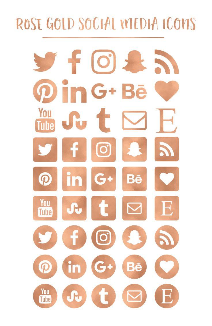 Rose Gold Social Media Icons. Rose Gold Foil Social Media Icons.