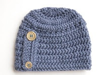 Free Crochet Button Beanie Hat Pattern