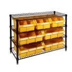 36 in. W x 30 in. H x 14 in. D 4-Shelf Wire Steel Commercial Bin Rack System in Black/Yellow