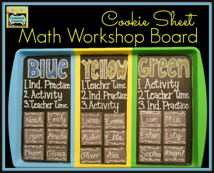 Week 3 of the 7 Habits of Highly Effective Math Workshops is all about math workshop boards. Check out this one made out of a cookie sheet! #mathworkshopboard #cookiesheetcrafts