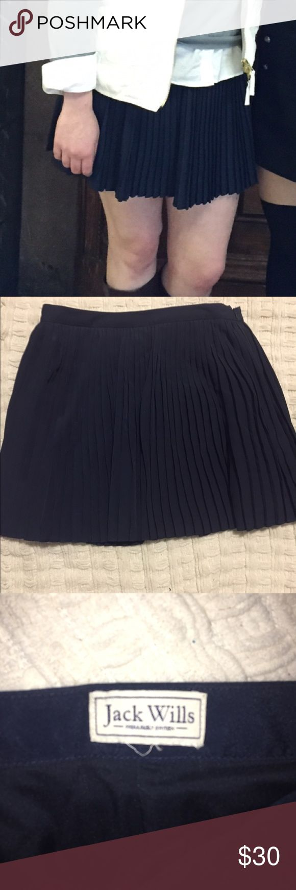 Jack Wills Pleated Mini Skirt Navy Blue, flair, side zip waist, very lightly worn. Jack Wills Skirts Mini