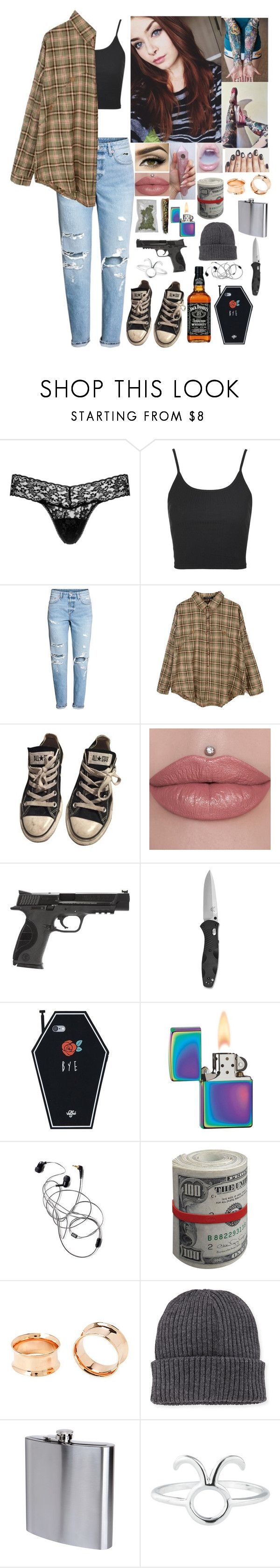 """Ara"" by partypoisonkilljoy ❤ liked on Polyvore featuring Hanky Panky, Topshop, H&M, Retrò, Converse, Smith & Wesson, Zippo, Moncler, The Sharper Image and Rock 'N Rose"