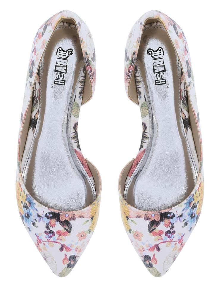 Brash D'orsay Floral Pointed Toe White Floral Flats $24