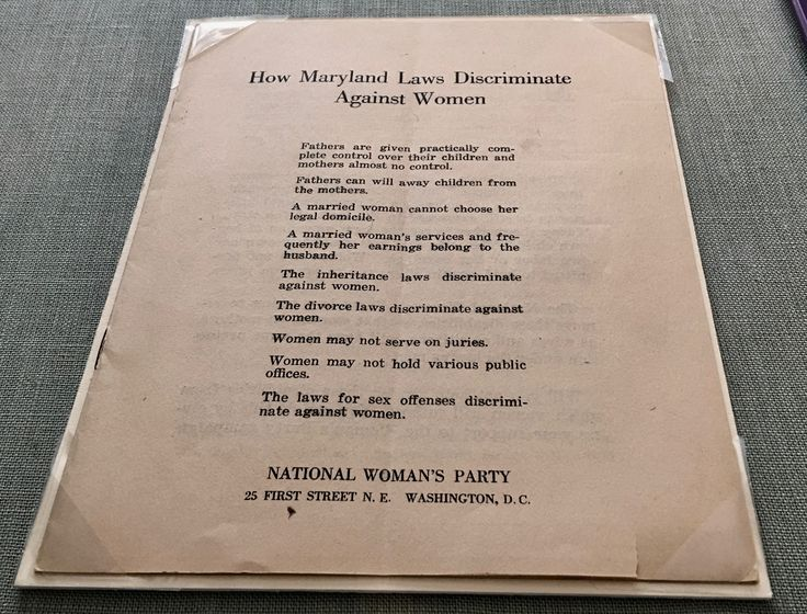 The National Woman's Party distributed this leaflet that explained how the laws in Maryland discriminated against women.