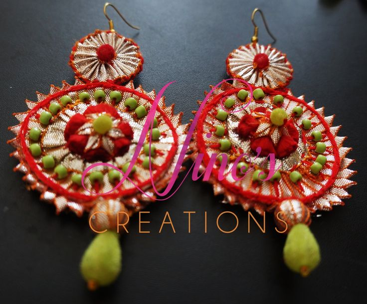 #handmade #earrings @red #green #mehndi #bride #dulhan by https://www.facebook.com/pages/Ninos-creations/123853704344831?fref=ts