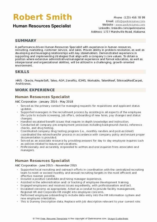 Human Resources Specialist Resume Awesome Human Resources Specialist Resume Samples In 2020 It Support Specialist Human Resources Career Job Resume Samples