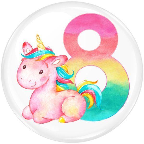 Unicorn 8 Age Birthday Party Badge #455