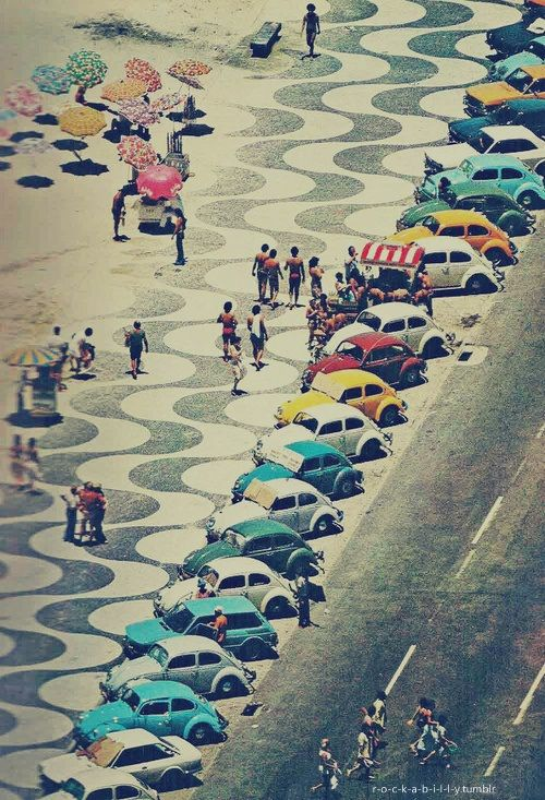 Even the parking lot looks fun--Ipanema beach, Brazil.