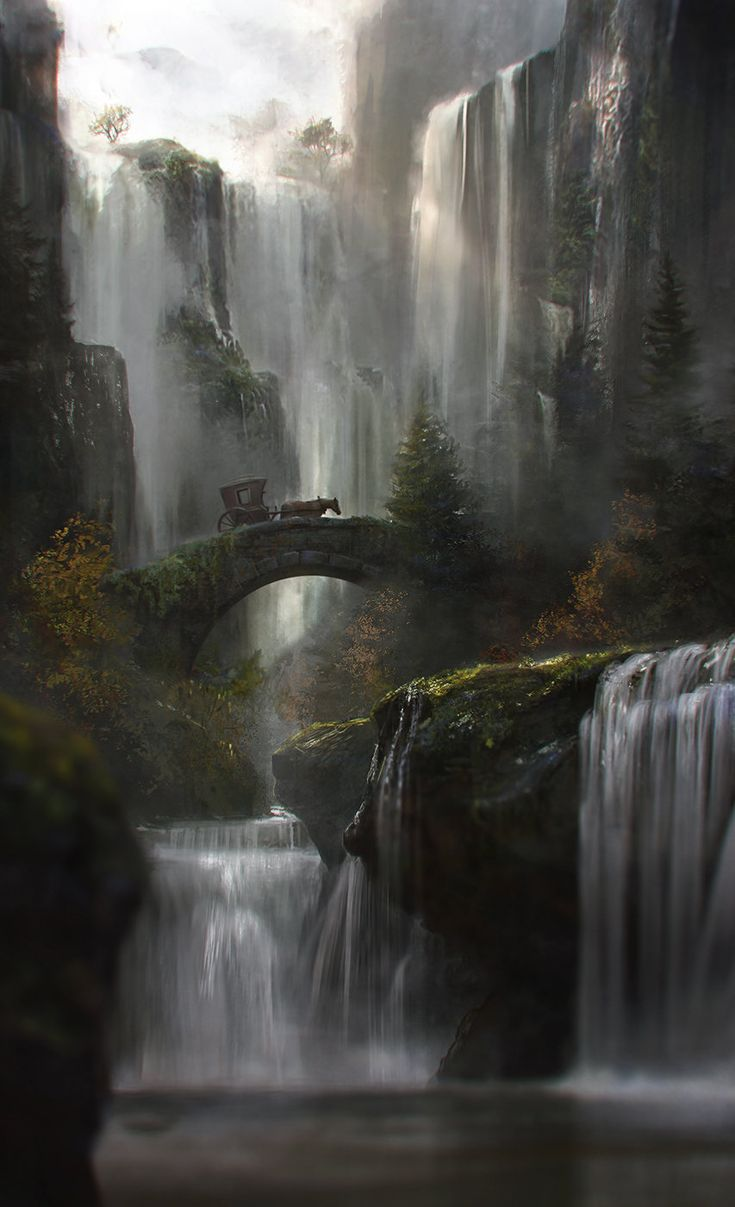 fantasy-art-engine:Waterfall by Jordi Gonzalez Escamilla