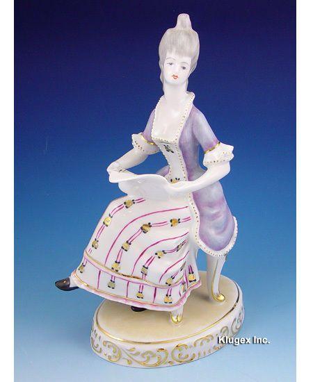Hungarian Porcelain Rococo Style Hollohaza Sitting Lady