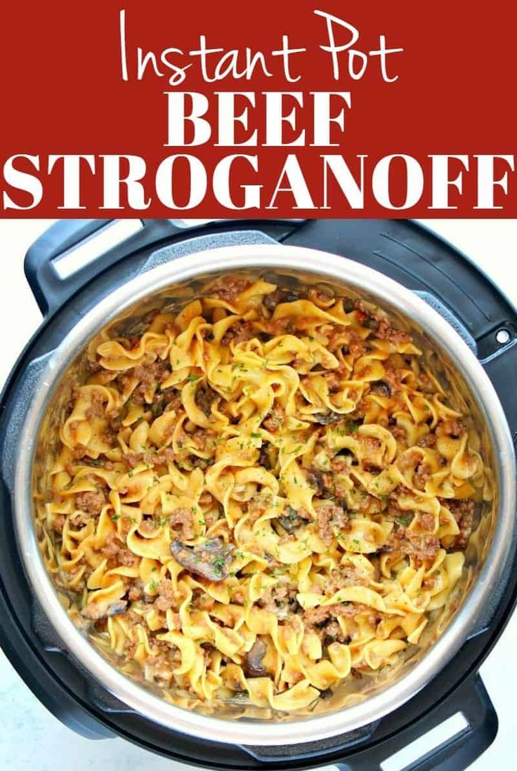 this instant pot beef stroganoff is made with ground beef
