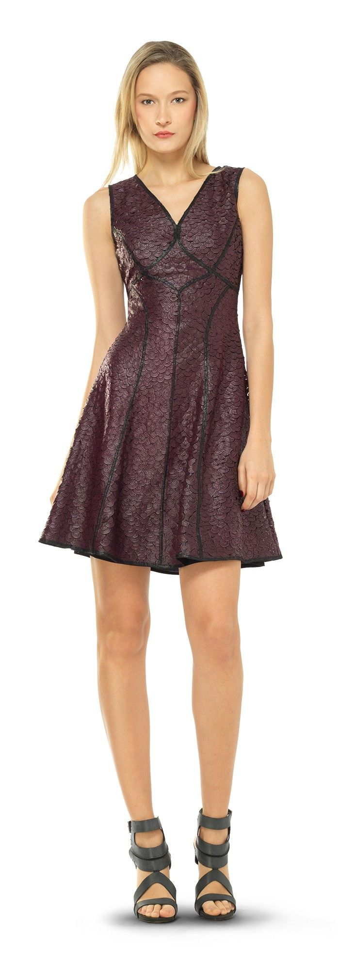 Fit And Flare Coated Applique Dress   Max Studio Official by Leon Max   MaxStudio.com