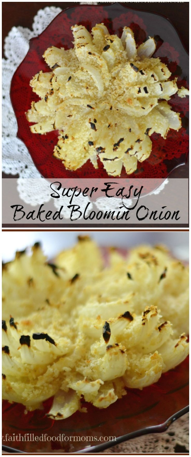 This Easy, Healthy Baked Bloomin Onion Recipe is simply the BEST! One of my favorite appetizers that can even be prepared ahead of time! It is delicious! Can also be made Gluten Free #Appetizers #appetizer #easy #recipes #faithfilledfoodformoms