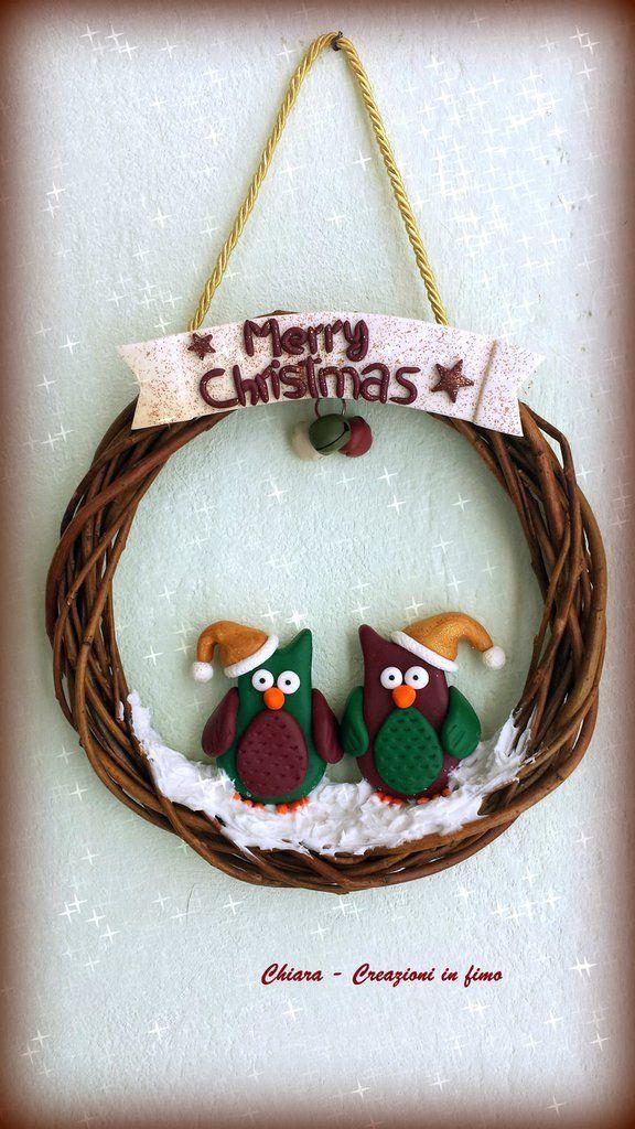 Idea regalo Natale Ghirlanda in fimo natalizia gufi babbo natale , by Chiara - Creazioni in fimo, 20,00 € su misshobby.com