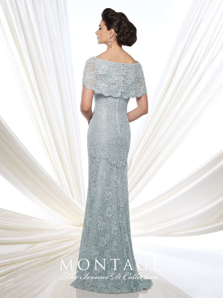 Lace fit and flare gown with short sleeves, wide bateau portrait collar, back covered buttons, lace appliqué placed around back thigh, sweep train. Sizes: 4 – 20 Colors: Aqua, Ivory, Fresh Aubergine