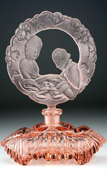 Rare c.1930s Czechoslovakian Pink Glass Scent Perfume Bottle With Figural Stopper, Josef Schmidt Prichovice