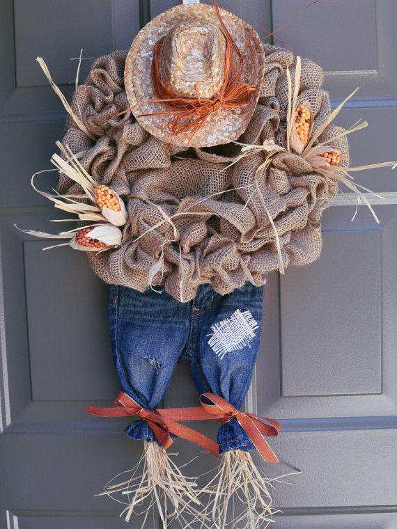 This is so adorable! A scarecrow wreath!