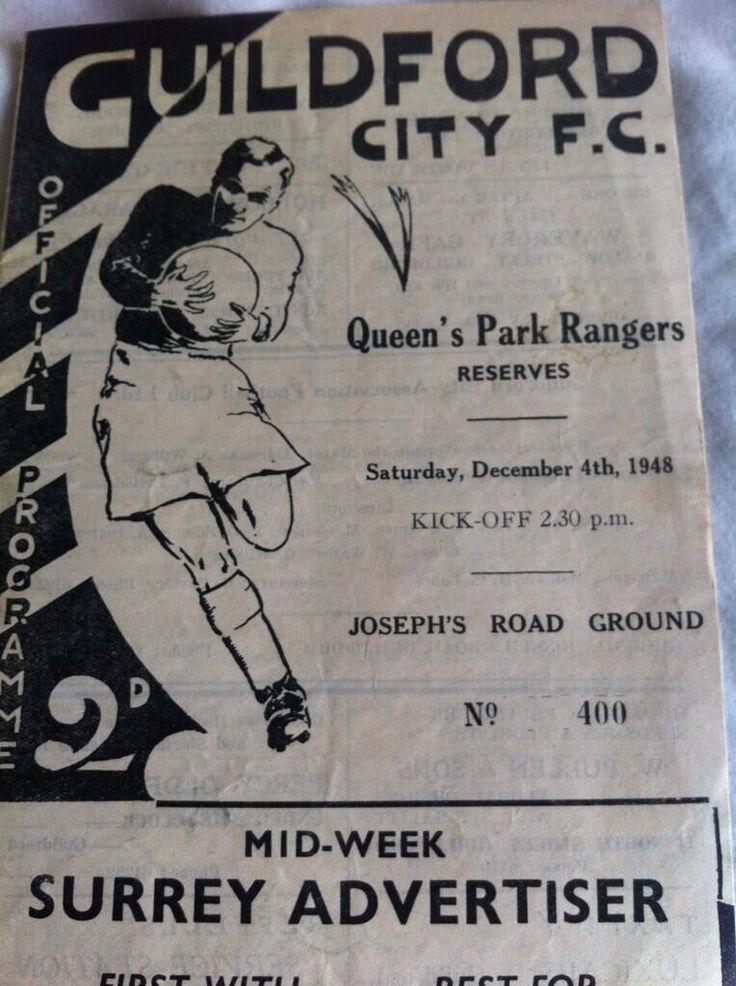 Guildford city v QPR 1948 football programme