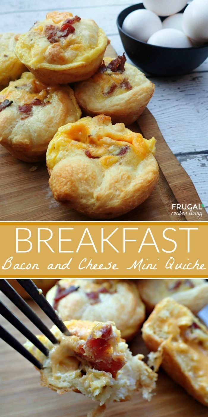 Bacon and Cheese Mini Quiche Recipe on Frugal Coupon Living. This breakfast recipe idea is perfect for a large crowd. Easy breakfast idea.