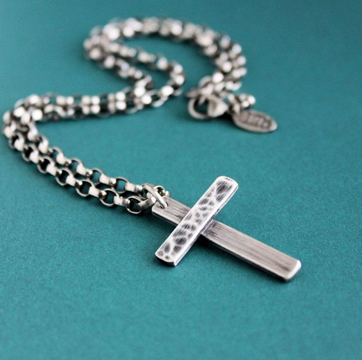 70 best mens silver necklaces images on pinterest silver large handmade silver cross pendant mens chain necklace lynn todd designs mozeypictures Gallery