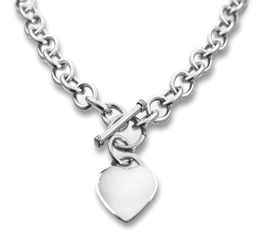 """Designer Inspired Stainless Steel Heart Toggle Tag Necklace Chain Engravable 18"""" (Heavier Version)"""