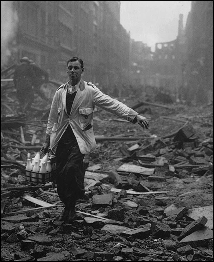 "The real meaning of ""Keep calm and carry on."" Milkman during the London blitz 1940."