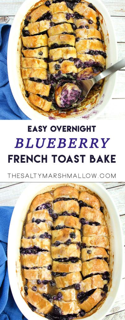 Easy overnight french toast bake with juicy blueberries and maple glaze!