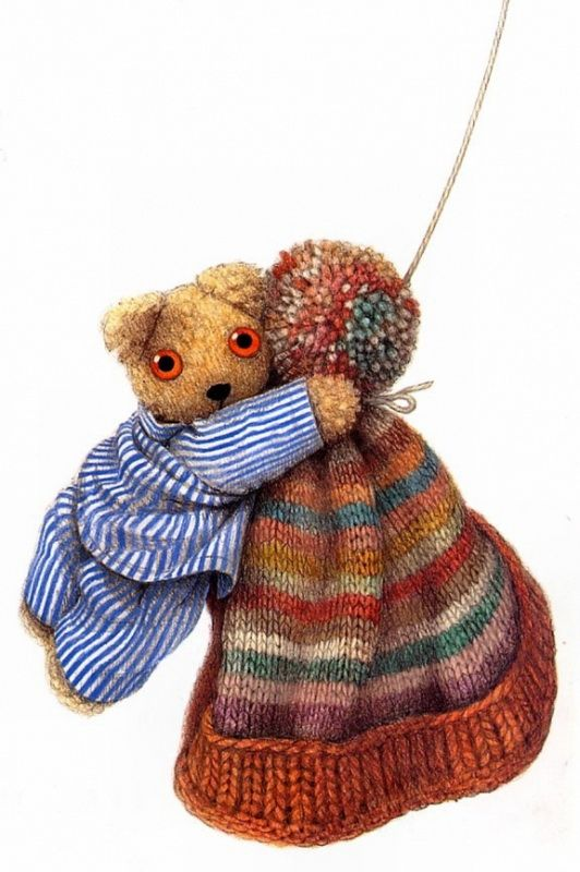Little Old Bear - Love the cap for knitting inspiration, orange turned up brim, soft colored stripes on cap body, multi colored pom at top