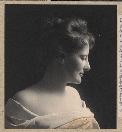 Theodore Roosevelt's favorite photo of his wife, Edith Roosevelt, probably around 1903. From the Roosevelt family scrapbooks, Library of Congress Prints and Photographs division.