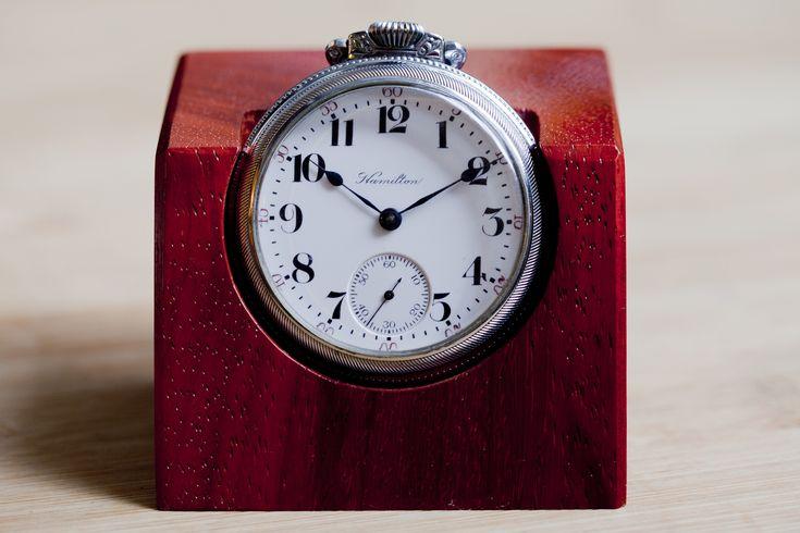 Restored Hamilton Pocket Watch Turned Desk Clock
