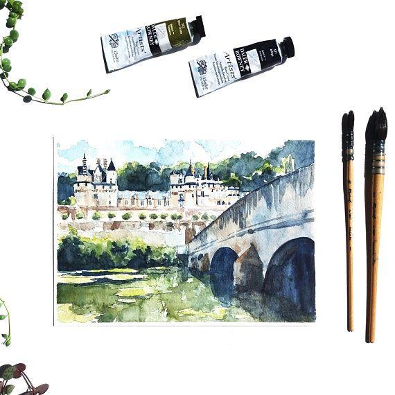 Aquarelle Originale Chateau D Usse Tableau Chateau De La Loire