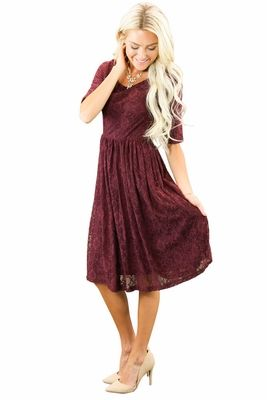 """This stunning lace dress is available in an all-new color that's perfect for Fall & Holiday Parties! It's flattering, feminine & fabulous! """"Emmy"""" Modest Dress in Burgundy Lace"""